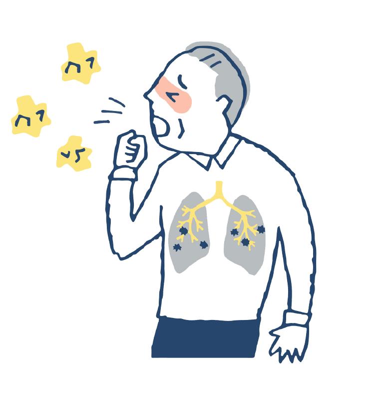誤嚥性肺炎のイメージ